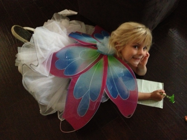 All dressed up, fairy costume