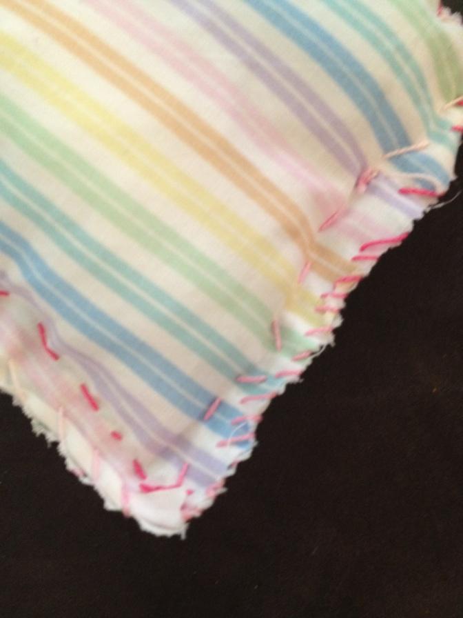 rainbow pillow, craft project, teach kids to sew