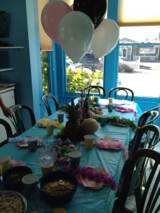 View of the room with balloons.